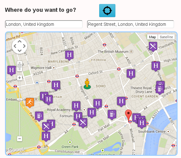 find accommodation search by entering street